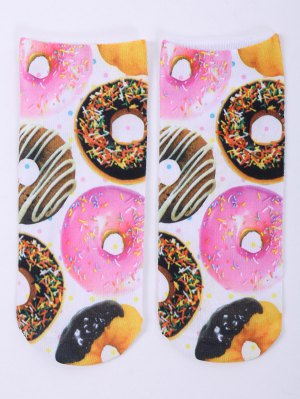 One Side 3D Donuts Printed Crazy Ankle Socks - White