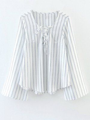 Striped Lace Up Flare Sleeve Blouse - White