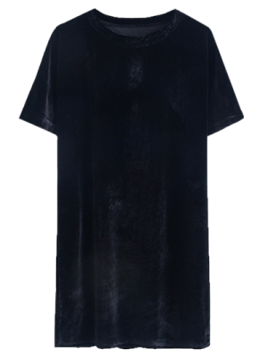Velvet Mini Shift Layering Dress - Black