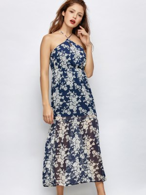 Floral Beach Maxi Dress - Blue