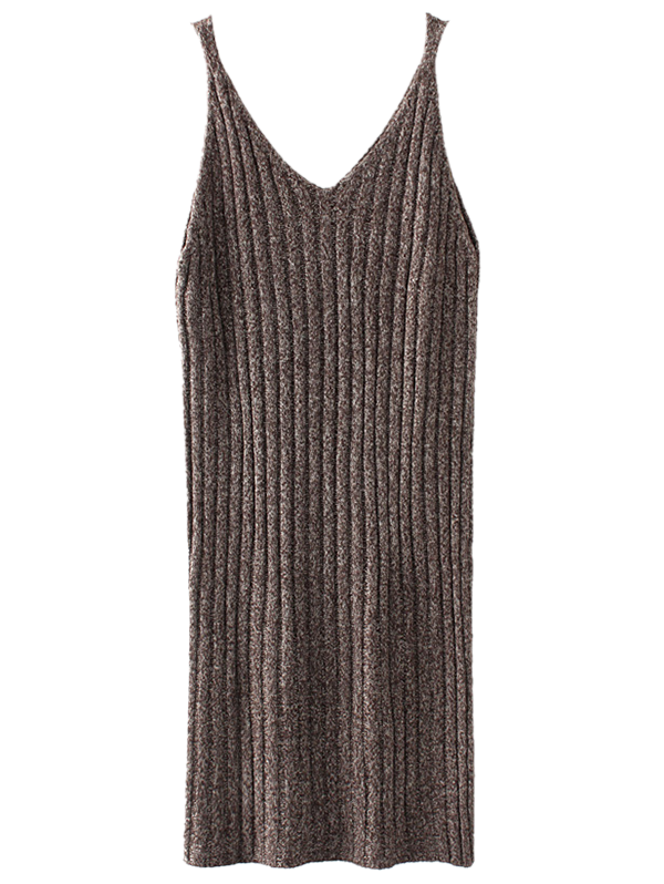 Knitted Tank Dress - COFFEE ONE SIZE
