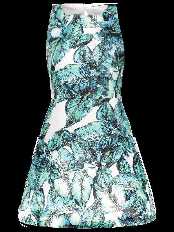 Back Stitch Printed A-Line DressClothes<br><br><br>Size: 2XL<br>Color: GREEN