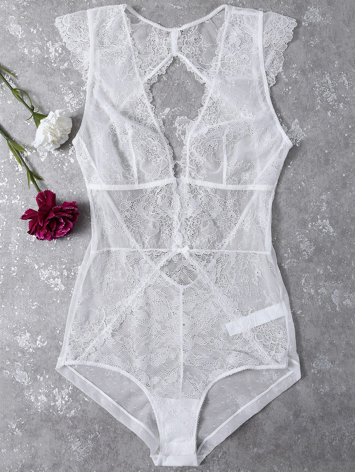 Plunge See-Through Lace Teddies
