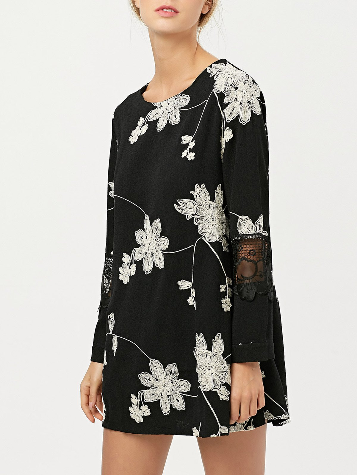 Lace Panel Floral Embroidered Chiffon Dress