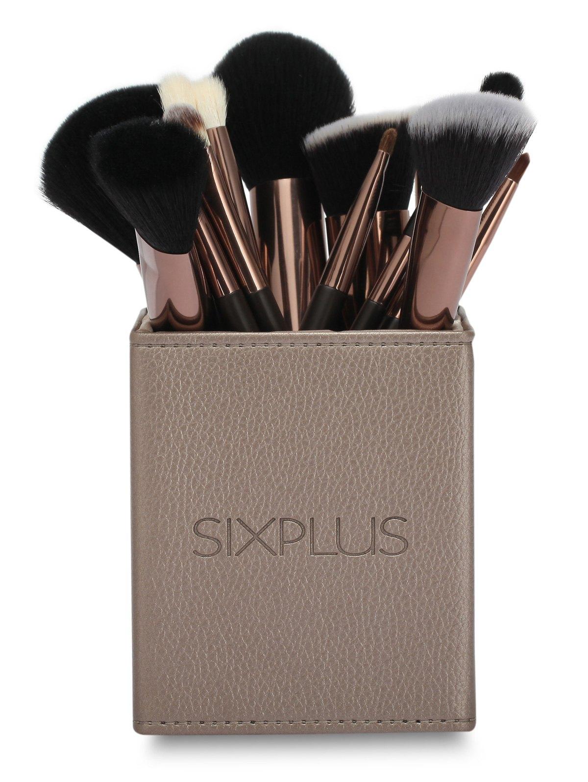 15 Pcs Animal Hair Makeup Brushes Set With Square Brush Holder
