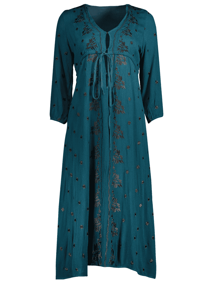 Embroidered Empire Waist Midi Dress