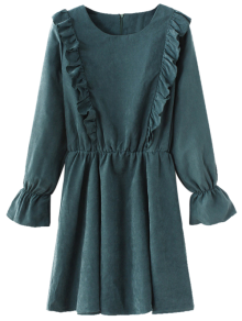Round Neck Long Sleeve Frill Dress - Blue Green S