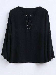 Ruffled Sleeve Flowy Chiffon Top - Black