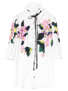 Long Flounced Floral Shirt - White