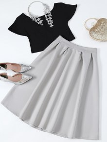 Cropped Tee And Midi Flare Skirt - Black And Grey