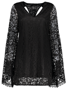 فستان مخرمات بمنخفض الياقة وكمين البوق - أسود 2xl