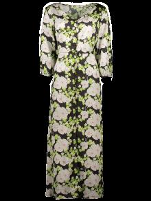 Vestido Largo Maxi Abotonado Estampado Floral - Negro 2xl