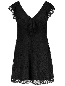 Ruffles V Neck Lace Dress - Black Xl