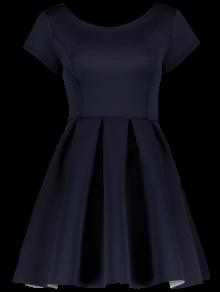Open Back Bonded Skater Dress - Cadetblue Xl