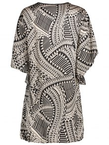 Flare Sleeve Geo Print Buttoned Chiffon Dress - COLORMIX XS