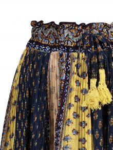 Tiny Floral Midi Boho Skirt - BLUE/YELLOW ONE SIZE(FIT SIZE XS TO M)