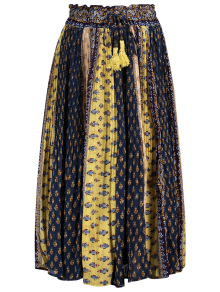 Tiny Floral Midi Boho Skirt - Blue And Yellow