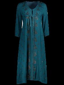 Embroidered Empire Waist Boho Dress