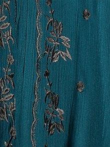 Embroidered Empire Waist Boho Dress - PEACOCK BLUE S