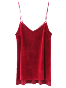Buy Slit Cami Velvet Tank Top L RED