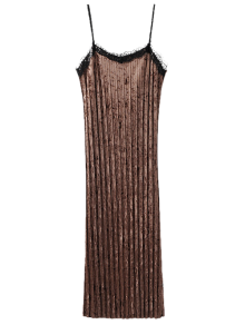 Spaghetti Strap Pleated Lace Velvet Slip Dress - Coffee S