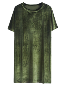 Velvet Mini Shift Layering Dress - Army Green