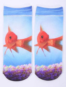 One Side 3D Goldfish Printed Crazy Ankle Socks