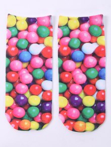 One Side 3D Round Sweets Printed Crazy Ankle Socks