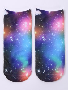 One Side 3D Galaxy Printed Crazy Ankle Socks