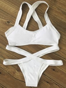 Color Block Banded Swimsuit - White