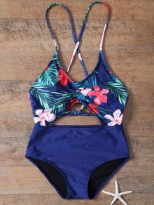 Floral Hollow Out One-Piece Swimwear - Blue L