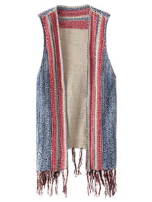 Knitted Tasselled Vest - Khaki