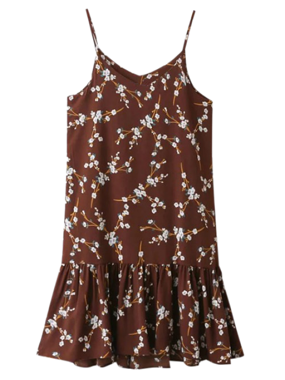 Spaghetti Strap Ruffle Floral Print Dress - CLARET ONE SIZE Mobile