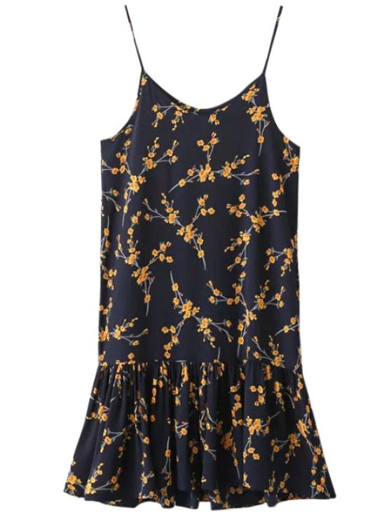 Spaghetti Strap Ruffle Floral Print Dress - CADETBLUE ONE SIZE Mobile