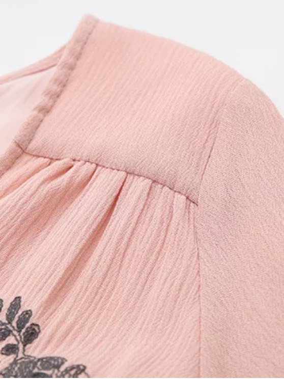 Long Sleeve Embroidered Swing Dress - PINK S Mobile