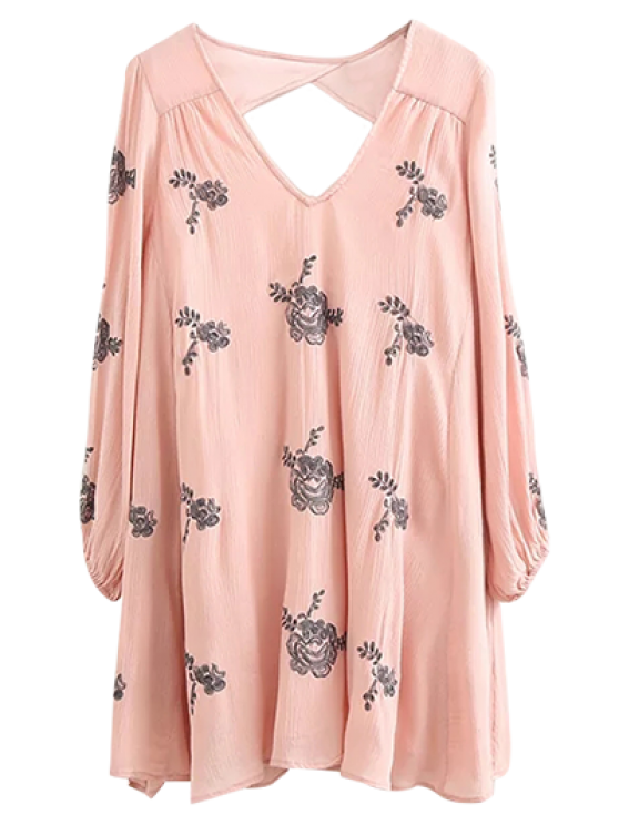 sale Long Sleeve Embroidered Swing Dress - PINK S