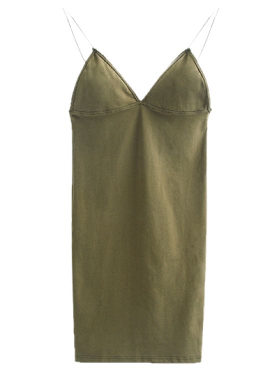 Elastic Spaghetti Strap Mini Bodycon Dress - FLAX GREEN S Mobile