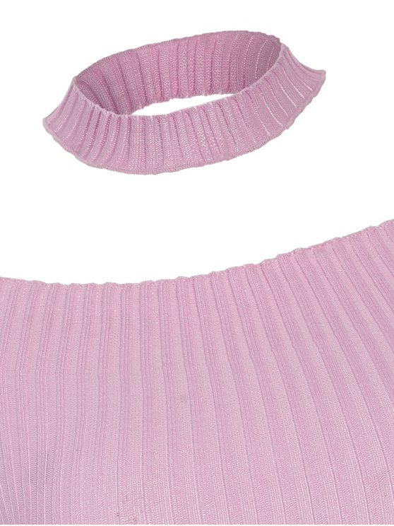 Short Sleeve Off The Shoulder Choker Knitwear - PINK ONE SIZE Mobile
