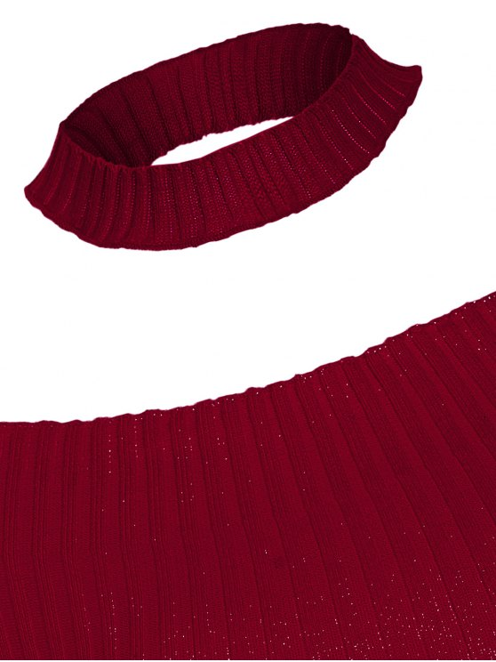 Short Sleeve Off The Shoulder Choker Knitwear - WINE RED ONE SIZE Mobile
