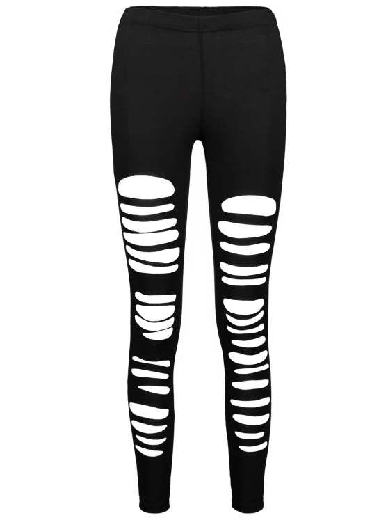 High Rise Ripped Leggings - BLACK XL Mobile