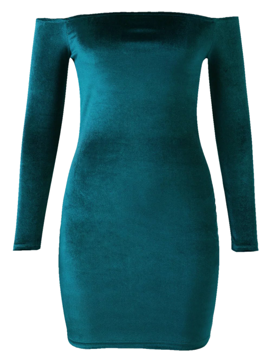 Off The Shoulder Long Sleeve Velvet Dress - LAKE GREEN L Mobile