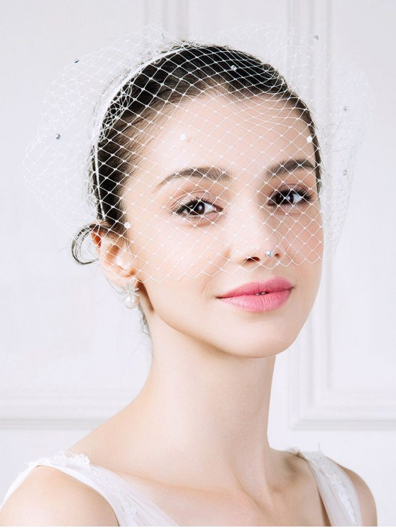 Mesh Veil Rhinestone Hairband - WHITE  Mobile