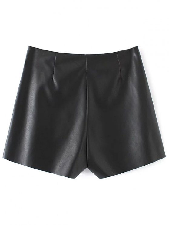 Plaid Rivet Faux Leather Shorts - BLACK S Mobile