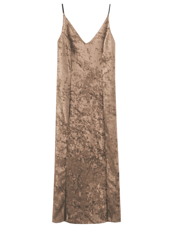 new Crushed Velvet Cami Slip Dress - CHAMPAGNE S