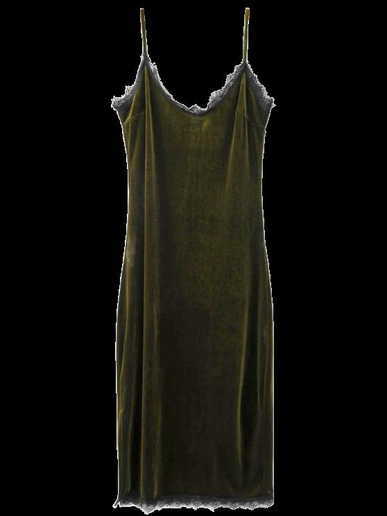 trendy Eyelash Lace Velvet Cami Dress - BLACKISH GREEN L