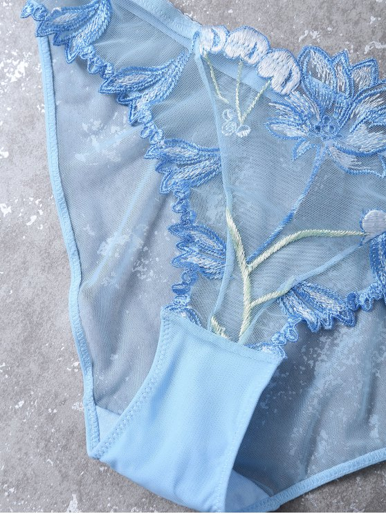 Embroidered Lace Panel See-Through Bra Set - BLUE 80C Mobile