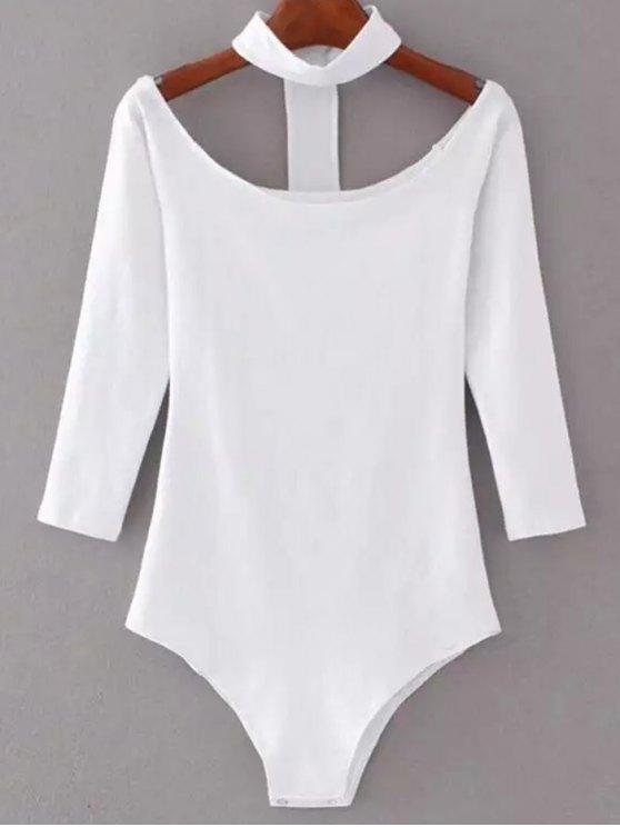 womens Skinny Off The Shoulder Choker Bodysuit - WHITE M