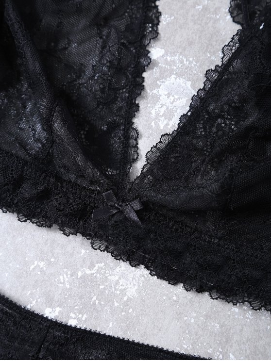 See-Through Scalloped Lace Bra Set - BLACK M Mobile