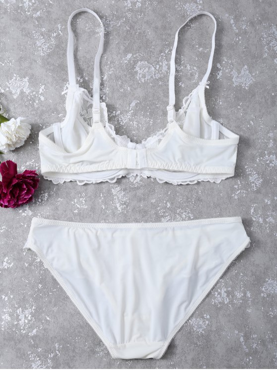 Floral Embroidered Lace Panel Bra Set - WHITE 75A Mobile
