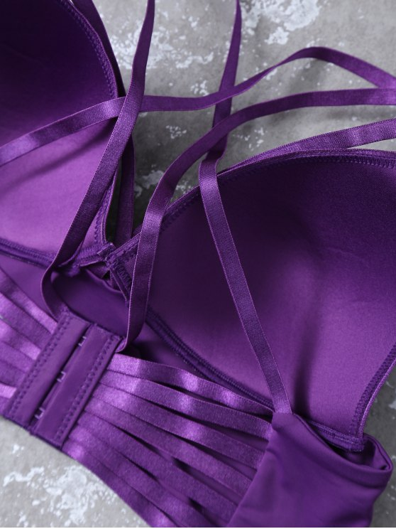 Push Up Strappy Cutout Bra Set - PURPLE 85B Mobile